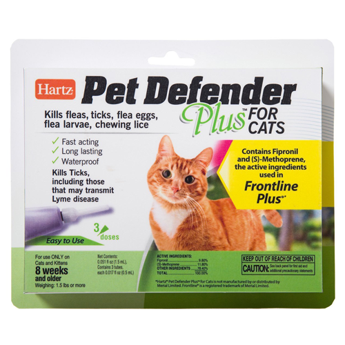 frontline plus ingredients. Hartz Pet Defender Plus For Cats Vs Frontline Ingredients